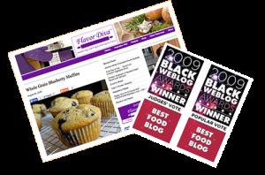Screenshot of FlavorDiva.com and 2009 Black Weblog Awards Winner Badge -- Popular Vote, Judges' Vote