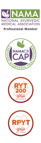 National Ayurvedic Medical Association Professional Member, NAMACB Certified Ayurvedic Practitioner, Yoga Alliance Registered Yoga Teacher and Registered Prenatal Yoga Teacher