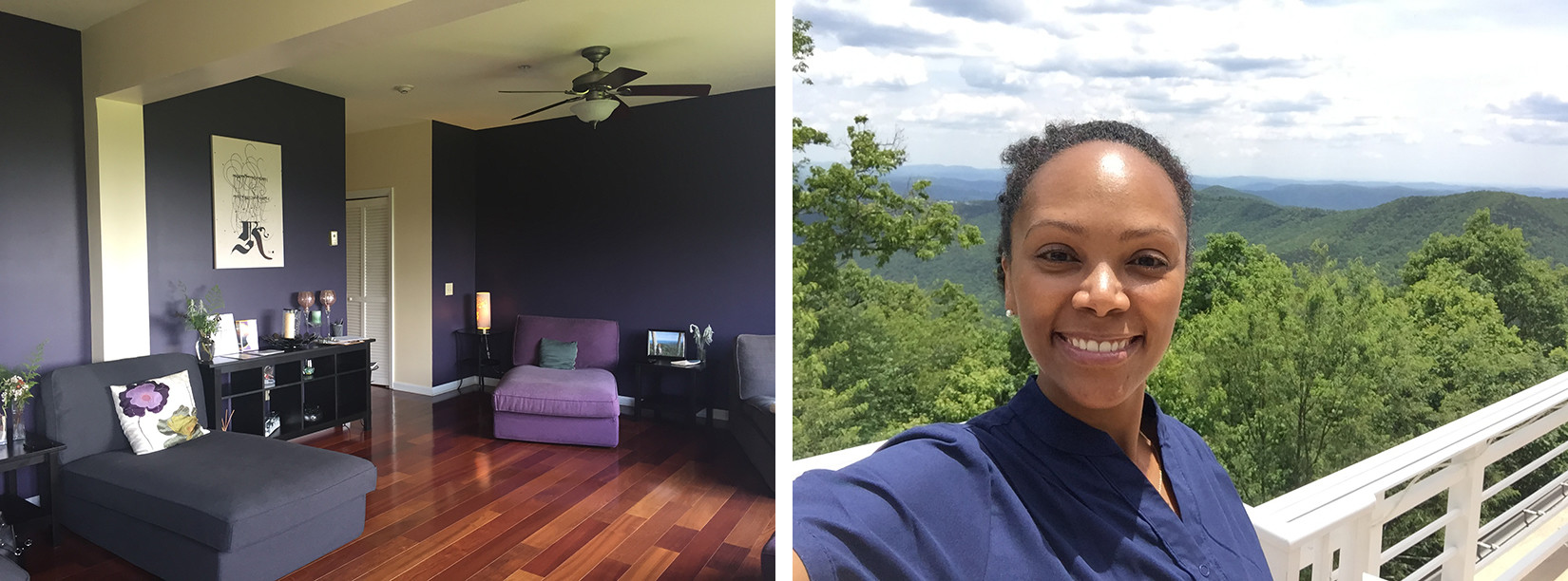 The relaxation room in Shankara Ayurveda Spa at the Art of Living Retreat Center, and Tesia with the Blue Ridge Mountains in Boone, NC where the center is located.