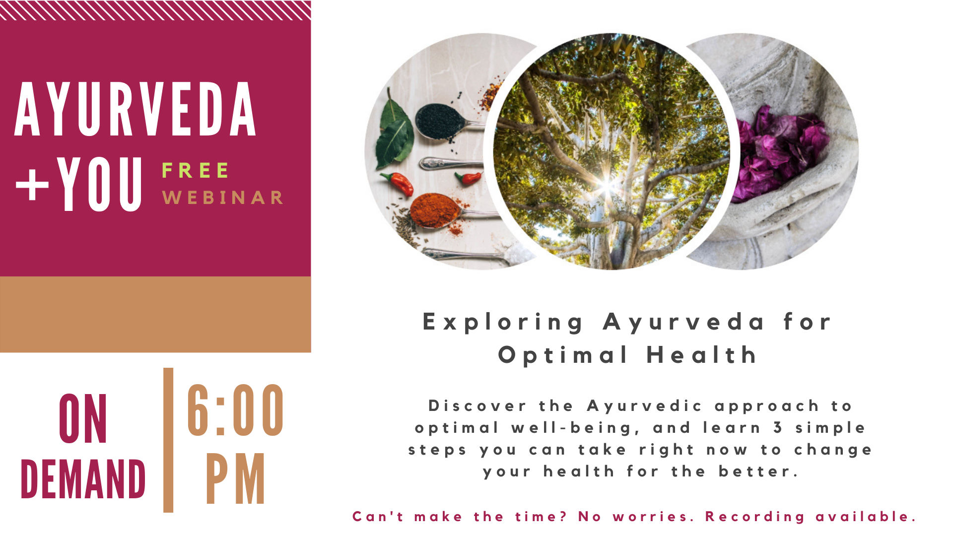 Free Webinar: Ayurveda + You - Exploring Ayurveda for Optimal Health