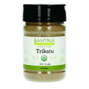 Trikatu in a spice jar by Banyan Botanicals
