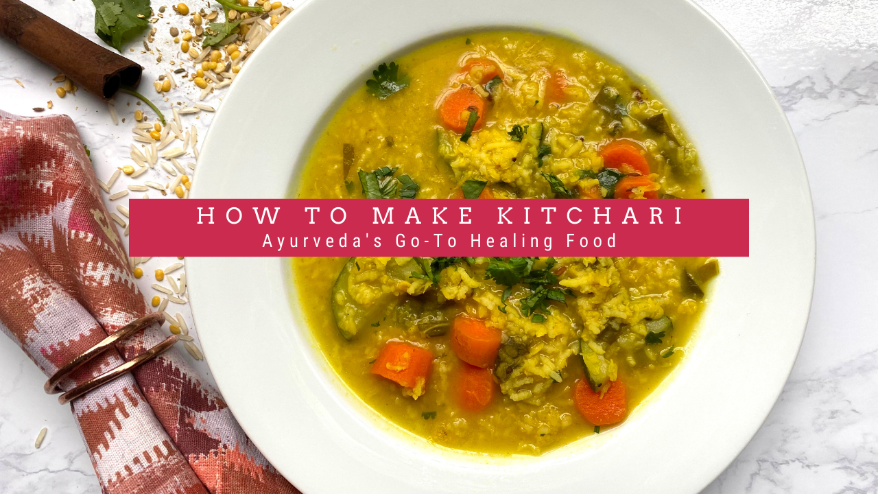 How to Make Kitchari: Image of a bowl of kitchari with chopped carrots in a white bowl.
